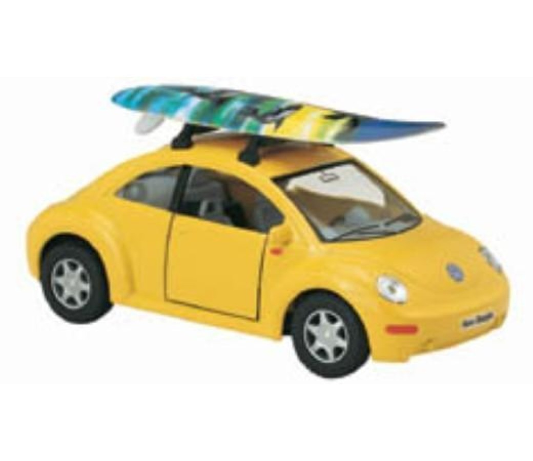 "Volkswagen New Bettle with Surfboard 1:32 (5"" Asstd Colour) KT5028DS"