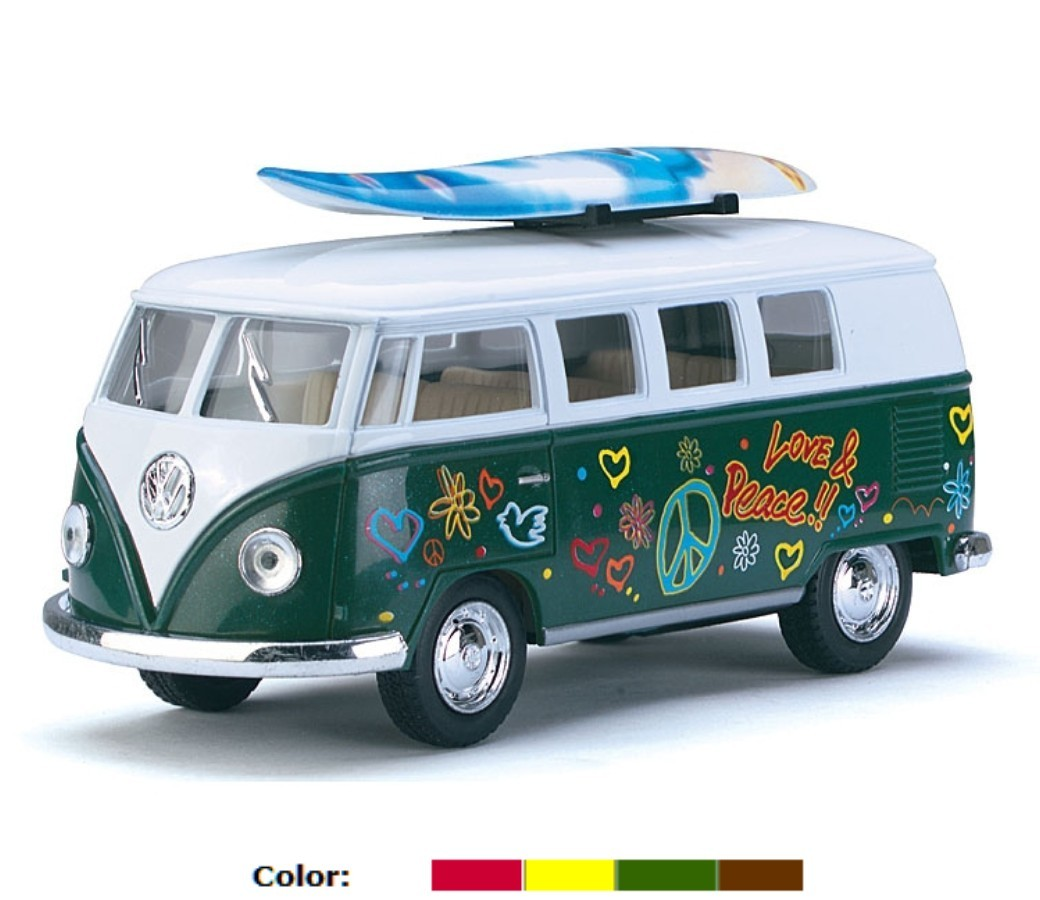 "1:32 5"" 1962 VW Classical Bus with Printing & Surf Board KT5060DFS"